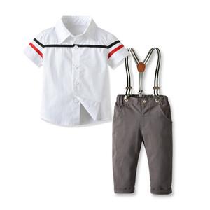 Çocuklar beyefendi kıyafetler erkek şerit yaka kısa kollu gömlek + askı rahat pantolon 2adet setleri 2020 yaz çocuk giyim J2033