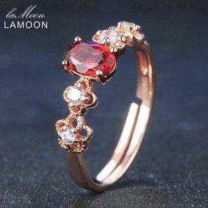 LAMOON 925 خاتم فضة للنساء العقيق الأحمر الأحجار الكريمة والمجوهرات 18K مطلية بالذهب والمجوهرات الجميلة حزام قابل للتعديل LMRI045