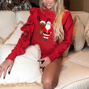Imcute estrenar Mujeres camiseta Solid Crew Neck Christmas Tree Tops Camiseta de manga larga túnica roja de Navidad Sudadera Pullover