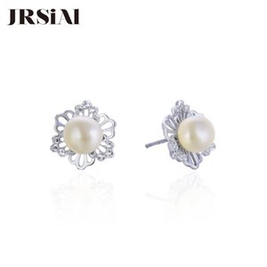 JRSIAL 925 prata esterlina jóias pérola de água doce Zircon Brincos da moda coreana doce Flores