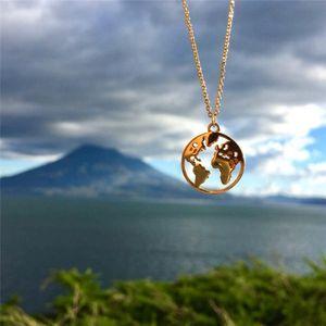 Kreative Weltkarte Anhänger Halskette Geometrie Kreis Halsketten Männer Frauen Paare Liebhaber Schmuck Gold Silber Kette T081
