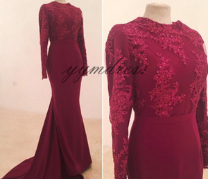 Arabic Mermaid Prom Dresses 2019 Jewel Neck Beaded Long Sleeve Evening Gowns Sweep Train Formal Party Dresses