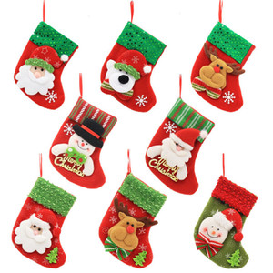 Santa Claus Christmas Stocking Cartoon Christmas Tree Ornament Xmas Sock Candy Gift Bag Home Party Decorative TTA1621