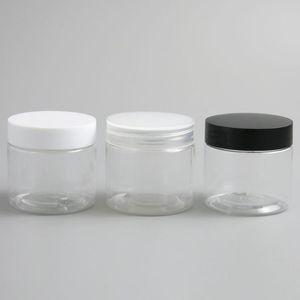 30pcs Пустой прозрачный пластиковый Круглый крем лосьон Jar бутылку черный белый LIDS винт крышкой 60г 60мл 2oz Косметические контейнеры для образцов