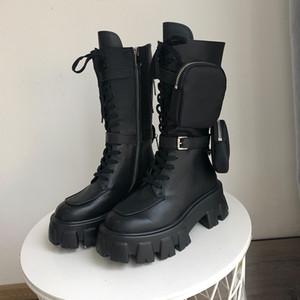 preto da motocicleta botas sapatos redondos zíper lateral plataforma de inverno metade da panturrilha botas de couro de design da marca das mulheres das mulheres