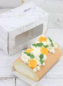 2019 Новые горячие продажи Элегантный Мраморный Дизайн Cake Roll Box Swiss Roll Пекарня для выпечки Упаковка Коробка