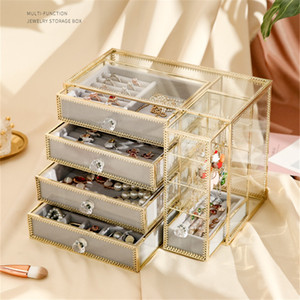 Discount Jewelry Desktop Storage Box Transparent Glass Makeup Organizer 4 Tiers Velvet Tray Dressing Table Earrings Necklace Watches Box