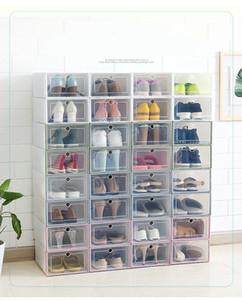 3PCS / LOT Boîte à chaussures en plastique transparente Boîte de rangement en plastique multifonction pour l'organisateur de maison