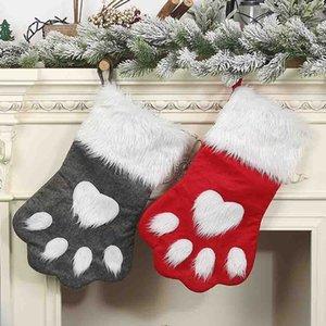 Criativa Pet Dog Cat Christmas Stocking Meias presente Bolsas Titular Xmas Tree pendurado pingente de Ano Novo Decoração Para Casa