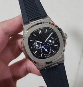Quadrante nero interamente in acciaio 40mm 5712 Orologio da uomo completo con cinturino in pelle con orologio meccanico da uomo con specchio in cristallo