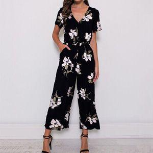 2019 Summer Vintage Floral Print Boho Jumpsuit Romper Casual V Neck Short Sleeve Jumpsuit Loose Belt Work Overalls Plus Size 5XL CX200606
