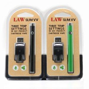 Original LAW Slim VV Batterie Chargeur Kit E Cigarette Cartouche Piles 280mAh VV Vape Stylo Avec Fonction De Préchauffage 2.6V-4.0V 4 Couleurs