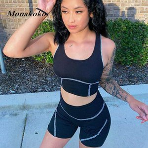 Summer Sport Set Women Black Patchwork 2 Piece Crop Top Bra Sport Shorts Yoga Sportsuit Workout Active Outfit Fitness Gym Sets