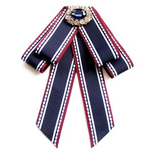 i-Remiel Women's Bank Hotel Professional Striped Rhinestone Bow Brooch for Girl Student Dress Bows Knot Shirt Collar Accessories