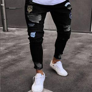 E-Baihui 2020 Badge Herren dünne Jeans Bleistift-Jeans Knie-Loch-Flecken-Dekoration Zipper Hosen Herren Worn Out Design Denim-Hosen-805