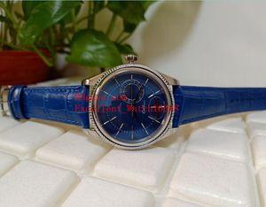 Hot comprar Mens Relógios 39 mm 50519 50515 Caixa De Aço Inoxidável Dial Azul Ásia 2813 Movimento Automático De Couro Bandas Strap Relógios Christma