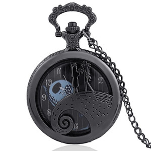 Black Color Alice In Wonderland Hollow Surface Full Hunter Quartz Engraved Fob Retro Pendant Pocket Watch Chain Gift