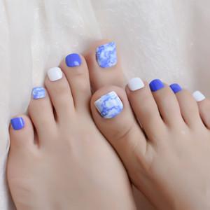 Tinta azul Pintura Pré Projeto Unha Dicas Falso 24PCS / Set Branco Tampa completa Imprensa sobre Falso Toe Nail Decoração Manicure Ferramenta