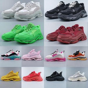 2020 Fashion Casual Shoes Triple-S 17FW Week Show Dress Shoes Luxury Triple S Sneakers Black Beige Green Dad Shoes Clear Sole Trainers 31