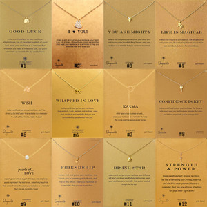 Novos Dogeared Colares Com cartão Elefante de Ouro Coração Chave Trevo Ferradura Triângulo Charme Pingente de Colar Para as mulheres Moda Jóias presente