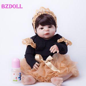 55cm Full Body Silicone Reborn Baby Doll Toys Lifelike Baby-Reborn Princess Doll Child Birthday Christmas Gift Girls Brinquedos MX191030
