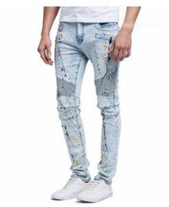 الأزرق فوا المتعثرة سروال ستريت ستايل رجالي سليم جان سروال الهيب هوب الرجال مصمم الازياء جينز مغسول