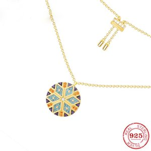 925 Sterling silver Colorful tribal style round pendant necklace Modern retro style geometric pattern sweater chain female