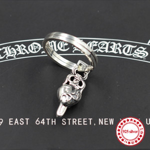 S925 Sterling Silver Keychain personalized classic punk wind hip-hop domineering Holy sword ring shape send lover gift jewelry