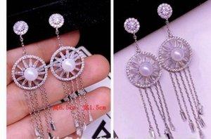 fashion low pirce high quality diamond crystal zircon 925 silver tassels lady's earings 82ercm