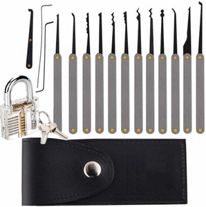 Stainless Steel Lock Set for Beginners, 15pcs Lock Pick Tool in a Black Zipper Bag with Transparent Practice Padlock, 2 Keys, Professional