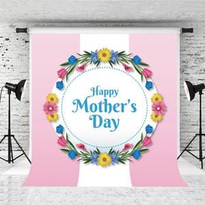 Rüya 5x7ft Mutlu anneler Günü Fotoğrafçılık Backdrop Anneler için Pembe Beyaz Ateş Arka Plan Prop Parti Garland Dekor Photo Booth Stüdyo