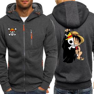 One Piece Rufy Hoodies degli uomini Autunno Giacca felpata Maschio Giappone Anime Zip Jacket Nuovo Streetwear Abbigliamento 2019 Hot Sale Mens Tuta