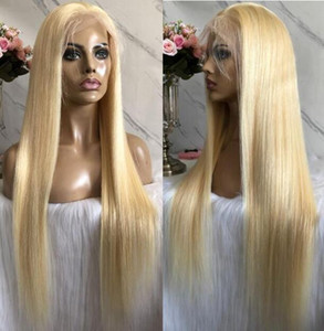 Celebrity Wigs Lace Front Wig #613 Blonde Silky Straight 10A Grade European Virgin Human Hair Full Lace Wigs for Woman Fast Free Shipping