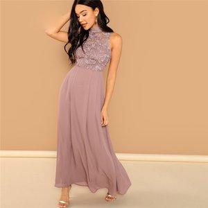 Femmes Stylistes Femmes Robe rose guipure Overlay corsage Maxi robe pied de col élégant manches Femme Automne Une ligne