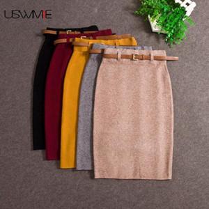 Casual USWMIE Outono Inverno Mulheres cintura alta Joelho de comprimento de malha Pencil Skirt Elegante Magro saias longas de alta qualidade Saias de Split