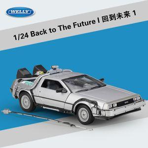 Welly 1:24 Diecast сплава Модель автомобиля DMC-12 DeLorean назад в будущее Time Machine Metal игрушечных автомобилей для Kid Игрушка Коллекция подарков T200110