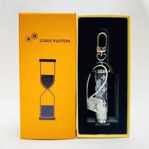 Com caixa pendente e Keychain Monogram Canvas Material Tecido ouro do metal do carro enfeites chaveiro e bolsa pingente ampulheta chain50 chave Vidro