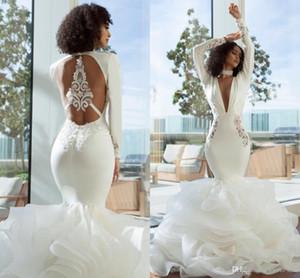 2019 Zarif Arapça Dubai Denizkızı Gelinlik Modelleri Seksi Uzun Derin V Yaka Uzun Kollu Katmanlı Organze Açık Geri Elbise Akşam Örgün Gowns Wear