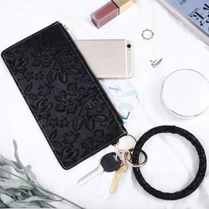 Portachiavi portatile Leather Bag Parti chiave della catena del braccialetto chiave di Europa e America del Car polso Anello portatile Parti pacchetto EEA894-1