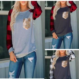 Женщины Топы Блестки O-образным вырезом с длинными рукавами плед печати Футболка лоскутные Lady Рубашки Сращивание Карман одежды осень Tops