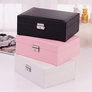 Mücevher kutusu çift katmanlı yüksek kapasiteli taşınabilir ev seyahat kutusu kolye yüzük basit prenses tarzı mücevher kutusu çok renkli isteğe bağlı