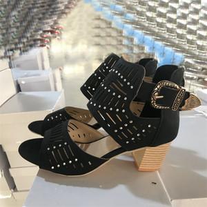 2020 neue Frauen-Sommer-Sandelholz-Art und Weise Balck High Heel mit Sparkles Sandalen aus Leder-Kleid-Damen Schuhe Mid-Ferse gute Qualität mit Box