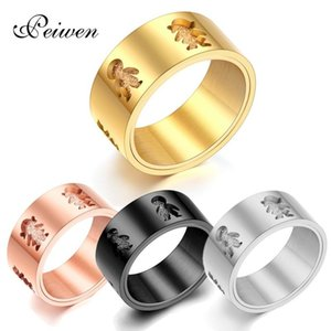 Fashion Boy Girl Rings Stainless Steel Family Ring For Women Men Unisex Finger Rings 10mm Hollow Jewelry Wedding Band Gifts