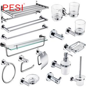 Großhandel Badezimmerzubehör Set Kleiderhaken Handtuchhalter Rack-Bar Regal Papierhalter Zahnbürstenhalter Badaccessoires, Chrome.