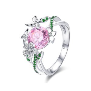 925 Sterling Silver Secret Garden Flower Butterfly Finger Rings for Women Pink CZ Wedding Engagement Ring Jewelry BSR010