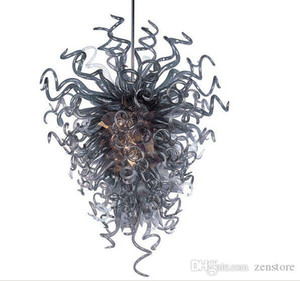 A mano moderna soffiato Saving Light Grey Glass Chandelier Lighting High End Lampadari Energy Source Hotel Chandelier