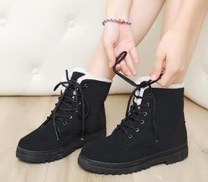 Женские зимние ботинки снега Дамы Новые Теплое Plus Бархат хлопок обувь сапоги Waterproo Мартин сапоги PU Большой размер лодыжки Хлопок обувь