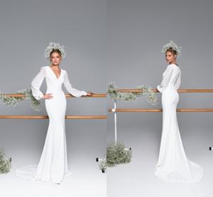 Vestidos de recepción baratos de la boda de la vendimia 2020 Satén con cuello en v profundo con mangas largas Vaina fruncida Vestidos De Novia Vestido de novia Vestido de novia