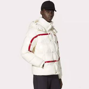 19SS الهندسية الطباعة أسفل الستر مقنع معطف هوديي سحابات جيوب زوجين إكسبيديشن الأزياء أبلى دافئ شتاء ثلاثة لون HFHLYRF026