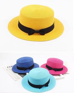 Niños Verano Sombrero de Paja Redondo Plano Ancho Ala Bowknot Playa Protección Solar Sombreros Visera para Niñas Hierba Trenza 17 colores